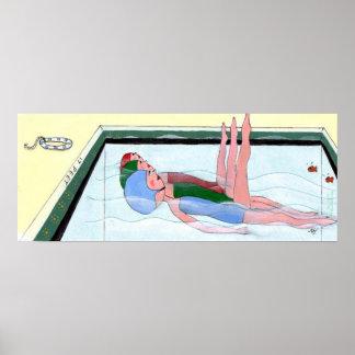 Impresión de la natación sincronizada póster