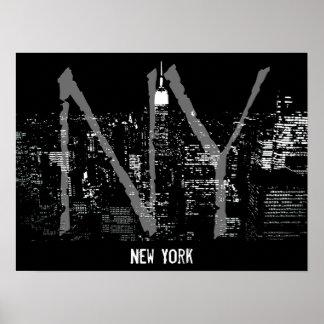 Impresión de la noche de Nueva York del paisaje Póster