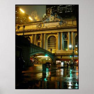 Impresión de la noche de Nueva York del paisaje ur Póster