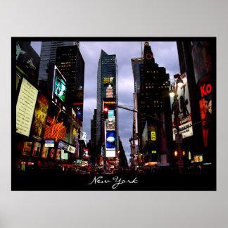 Impresión de la noche del Times Square del paisaje Póster