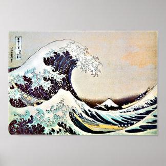 Impresión de la onda del japonés poster