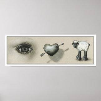 Impresión de la oveja del corazón del ojo póster