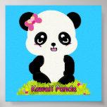 Impresión de la panda de Kawaii Póster