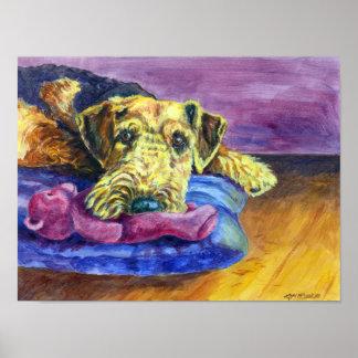 Impresión de la pared de Airedale Terrier Póster