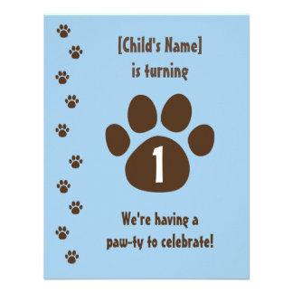 Impresión de la pata de Brown en cumpleaños azul Invitacion Personalizada