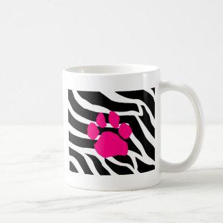 Impresión de la pata de la cebra taza de café