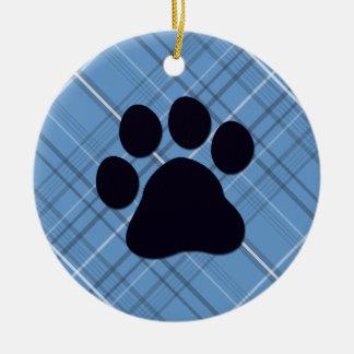 Impresión de la pata de la tela escocesa adornos de navidad