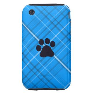 Impresión de la pata de la tela escocesa tough iPhone 3 carcasa