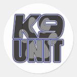 Impresión de la pata de la unidad de la policía K9 Etiqueta Redonda