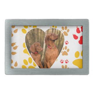 Impresión de la pata de los corazones del perro hebillas cinturon rectangulares