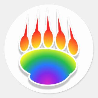 Impresión de la pata de oso del arco iris pegatina redonda