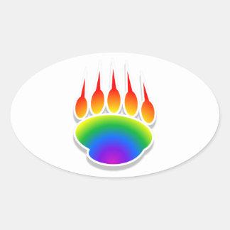 Impresión de la pata de oso del arco iris pegatina ovalada