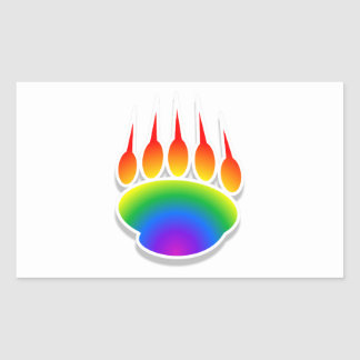 Impresión de la pata de oso del arco iris pegatina rectangular