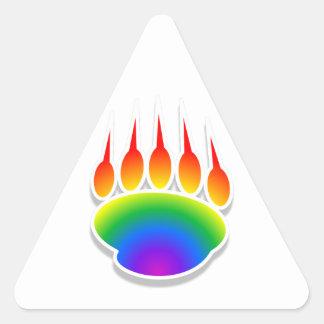 Impresión de la pata de oso del arco iris pegatina triangular