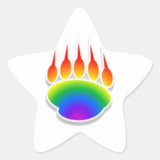 Impresión de la pata de oso del arco iris pegatina en forma de estrella
