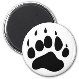 Impresión de la pata de oso imán redondo 5 cm