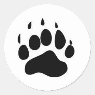 Impresión de la pata de oso pegatina redonda