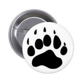 Impresión de la pata de oso pin redondo de 2 pulgadas