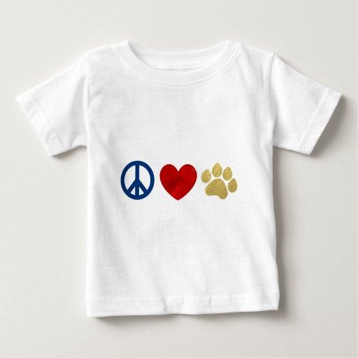 Impresión de la pata del amor de la paz playera