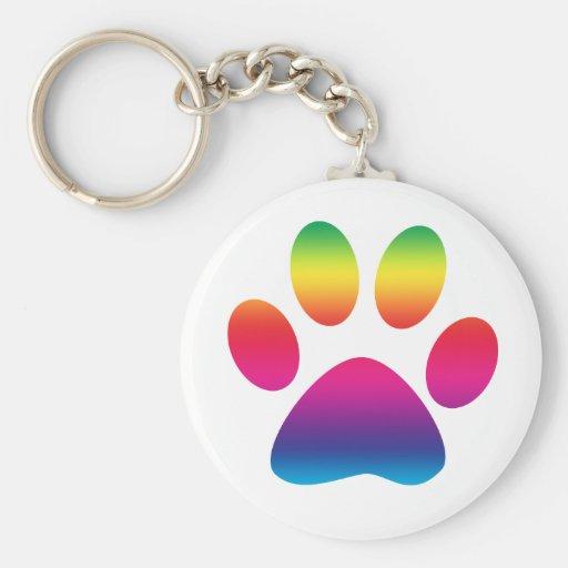 Impresión de la pata del arco iris llaveros personalizados