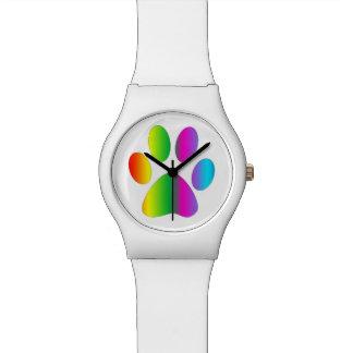 Impresión de la pata del arco iris relojes