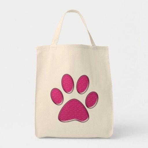 impresión de la pata del gatito bolsa tela para la compra