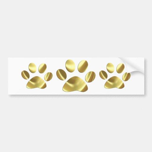 Impresión de la pata del gato del oro pegatina de parachoque