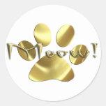 ¡Impresión de la pata del gato del oro del maullid Etiquetas