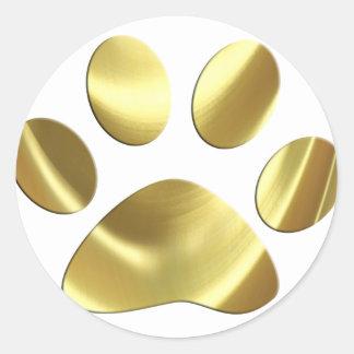 Impresión de la pata del gato del oro pegatinas redondas