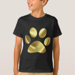 Impresión de la pata del gato del oro playera