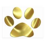 Impresión de la pata del gato del oro tarjeta postal