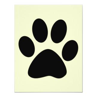 Impresión de la pata del gato invitación 10,8 x 13,9 cm