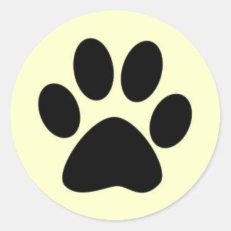Impresión de la pata del gato pegatina redonda