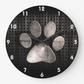 Impresión de la pata del Grunge Reloj Redondo Grande