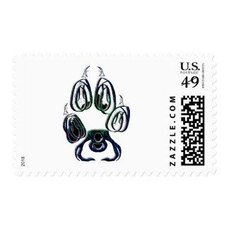 Impresión de la pata del lobo sellos