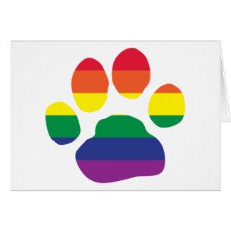 Impresión de la pata del orgullo gay tarjeta de felicitación
