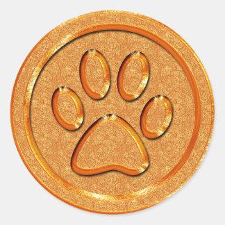 Impresión de la pata del oro pegatina redonda