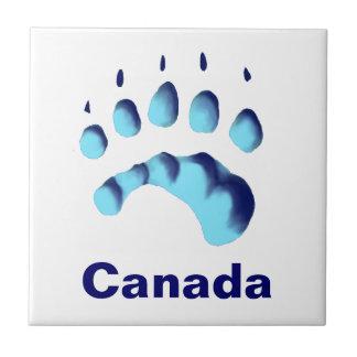 Impresión de la pata del oso polar azulejo cuadrado pequeño