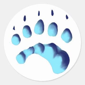 Impresión de la pata del oso polar pegatina redonda