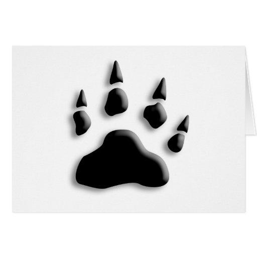 Impresión de la pata del oso polar tarjeta