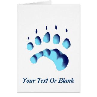 Impresión de la pata del oso polar tarjeta de felicitación