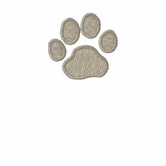 Impresión de la pata del perro con el texto y los  sudadera bordada con cremallera