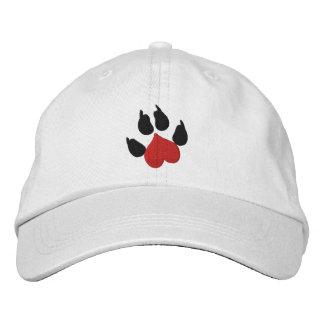 Impresión de la pata del perro del corazón gorras bordadas