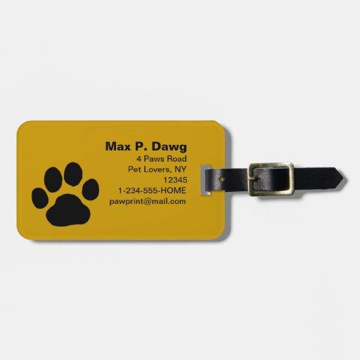 Impresión de la pata del perro en amarillo (el col etiquetas de maletas