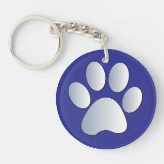 Impresión de la pata del perro en plata y azul, llavero redondo acrílico a doble cara