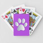 Impresión de la pata del perro en plata y púrpura, barajas