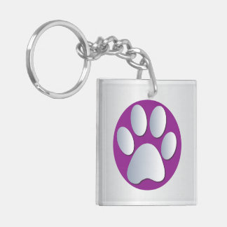 Impresión de la pata del perro en plata y púrpura, llavero cuadrado acrílico a doble cara