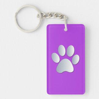 Impresión de la pata del perro en plata y púrpura, llavero rectangular acrílico a doble cara