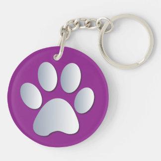 Impresión de la pata del perro en plata y púrpura, llavero redondo acrílico a doble cara