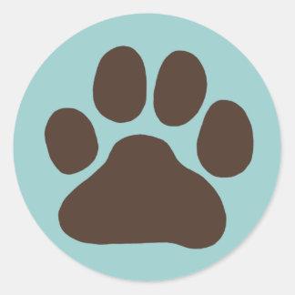 Impresión de la pata del perro etiquetas redondas